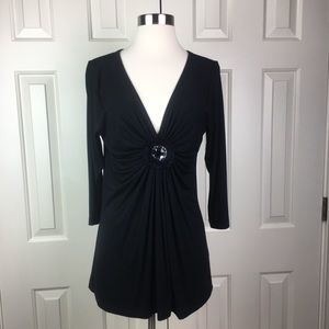 Karen Kane Black Jeweled Tunic Large